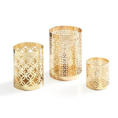 Danya B. KF1608GLD Home Accents - Metal Filigree Hurricane Candle Holders - Various Sizes and Patterns (Set of 3) - Gold by Danya B.