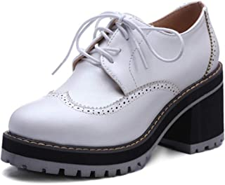 Women's Classic Chunky Heel Ankle Booties Lace up Round Toe Slip-On Handmade Platform Oxford Shoes