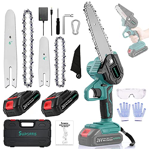 Mini Chainsaw SUPOFFIS Portable Cordless 6-inch and 4-inch 26v 2-in-1 Combination Electric Chainsaw Set for Garden/Courtyard Secateurs Pruning Wood Cutting (2 Batteries/2 Chains)