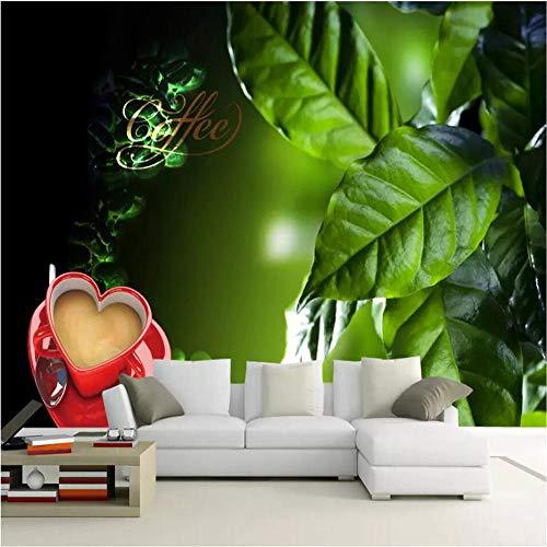 Tapeten Wandbild Hintergrundbild FototapeteBenutzerdefinierte Tapete grüner Kaffee Blätter Kaffee Wandbild Wohnkultur Wohnzimmer Schlafzimmer TV Sofa Hintergrund Wände 3d Tapete-Über 350 * 245cm 3 St
