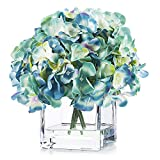 Enova Home Artificial Silk Hydrangea Flower Arrangement in Cube Glass Vase with Faux Water for Home Office Decoration (Aqua)