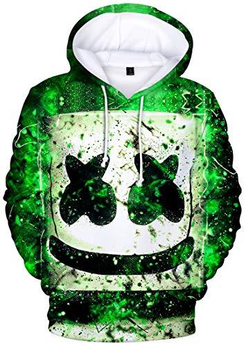 FLYCHEN Sudadera para Niños Estilo 3D Impresión Gráfica Sonido Eléctrico Cool Manga Larga Suéter Adolescentes Pullover- Verde - S
