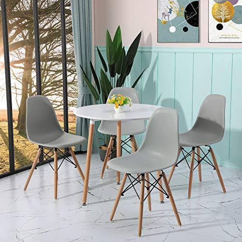 H.J WeDoo Essgruppe mit 1 Tisch 4 Stühle, Moderner Rund Tisch mit 4 Grau Skandinavisch Stühle für Küche, Garten, Cafeteria, Bar