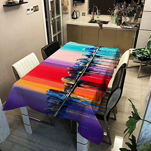 WELQUN Nuevo Mantel Poliéster Impreso Pintura Al Óleo Paisaje De La Calle Mesa De Café Paño Hogar Cocina Sucio Impermeable Cubierta De La Mesa
