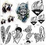 yyyDL Etiqueta engomada temporal colorida del tatuaje 3D Mapache lobo tatuajes temporales...