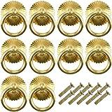 XIAQIU 10 Pomos y Tiradores Vintage, Tiradores para Cajones, Tirador Manija Anillo para Muebles Armarios de Cocina Cajones de Comodas Antiguos Puertas (latón)