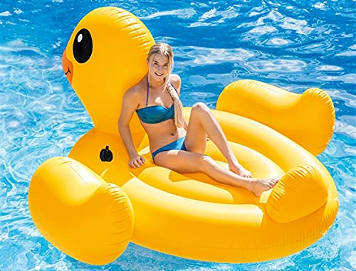 Mopoq 2021 new super big yellow duck swimming ring adult with handle mounts double large water inflatable toy children duck thickening floating bed