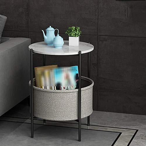 BIGMALL Einfacher Italienischer Sofa Beistelltisch runder Couchtisch Couchtisch mit Stauraum Nachttisch im Landhausstil auf kleinem Raum(grau)