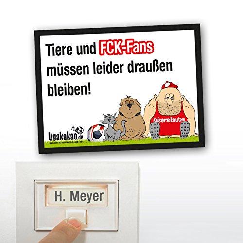 Klingel Abwehr-Schild vor Kaiserslautern-Fans | Achtung KSC-, Sandhausen- & alle Fußball-Fans, Dieses witzige Haus-Tür-Schild sorgt für klare Verhältnisse