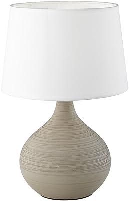 Reality, Lampe de table, Martin 1xE14, max.40,0 W Tissu, Blanc, Corps: Céramique, Cappucino Ø:20,0cm, H:29,0cm IP20,Interrupteur de cordon