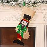 YOUHU Adornos Navideños,Bolsa Bolsa Grande De Navidad con Patrón De Cascanueces Verde Saco De Decoración para Adorno Colgante De Árbol Bolsa De Dulces para Niños
