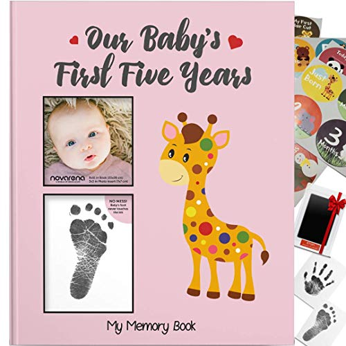 Novarena First 5 Years BabyMemoryBook Journal Scrapbook 48 Pack Monthly Milestones Stickers Clean-Touch Baby Safe Ink Pad for Hand Footprint (Giraffe and Jungle Theme for Girls Cover Picture Frame)