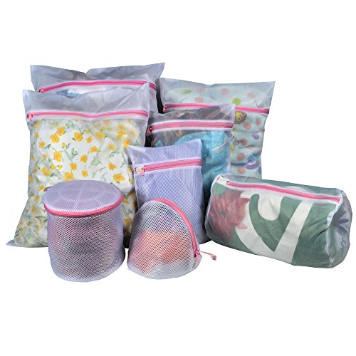 Techoss Mesh Laundry Bags, Set of 8 (1 Large + 3 Medium + 2 Small + 3 for Delicates Bras, Lingerie) - Best Zipper Wash Bag for Baby Clothes, Travel, Blouse, Hosiery, Stocking, Washing Machine, Socks