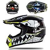 buetr casco integrale per moto elettrico casco integrale casco integrale con tuta a tre pezzi-squalo nero_l