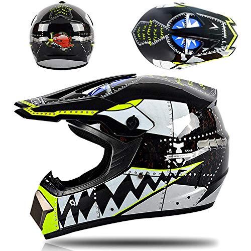 Motorhelm volledige dekking off-road helm volledige helm met driedelig pak-Zwarte haai Lichte, comfortabele en veilige helm_XL