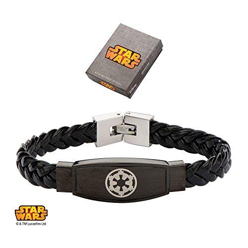 Pulsera de cuero trenzado con símbolo del imperio galáctico de Star Wars – Pulsera con símbolo imperial de 8.5 pulgadas