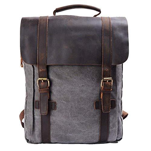 Y-DOUBLE Mochilas tipo casual / Mochila Vintage de Lona y Cuero / Bolso Casual para Viajes / Bolsa de Escuela / Unisex mochila de a diario / Portátil Bolsa - adecuada para 15' cuaderno (Brown)