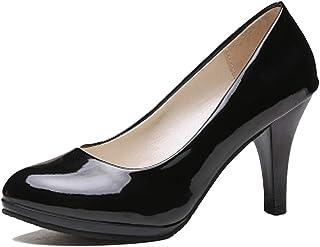 [ファッション メーカ] パンプス レディース ラウンドトゥ ヒール 5.5cm 8.5cm シンプル 美脚 OL 全5色 大きいサイズ