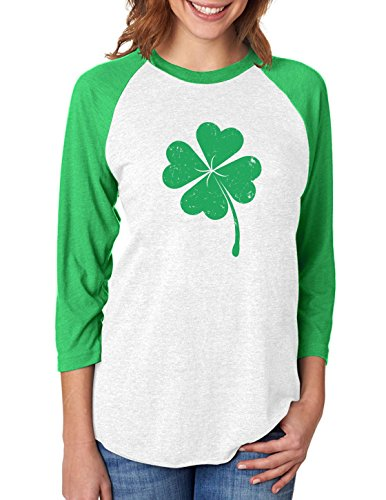 Clover St Patrick's Day Irish Shamrock 3/4 Women Sleeve Baseball Jersey Shirt Large Green/White
