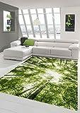 Traum Designer und Moderner Teppich Kurzflor Wohnzimmer Teppich Wald in Grün Weiss Größe 160x230 cm
