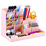 Cute Vertical Pen Organizer, Kawaii Desk Organizer Pen Holder Stationery, Marker Pencil Storage Caddy Tray for Office, School, Home & Art Supplies - Pink