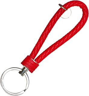 idain Woven Leather Car Keychain Handmade Rope Keys Strap Fashion Key Chain for Women Men with Alloy Key Rings (Red)