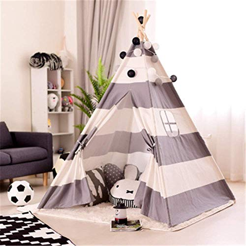 Play Tents For Boys And Girls Indian Children's Tent Small Boy Kids Canvas Teepee Play Tent Indian Playhouse Striping Room Decoration Tents With Mat Window Pocket kids