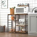 DlandHome Soporte para carro de microondas 35.4', Almacenamiento de utilidad de cocina 3 + 4 niveles para Baker's Rack & Especiero Organizador Plataforma de la estación de trabajo, Color Retro
