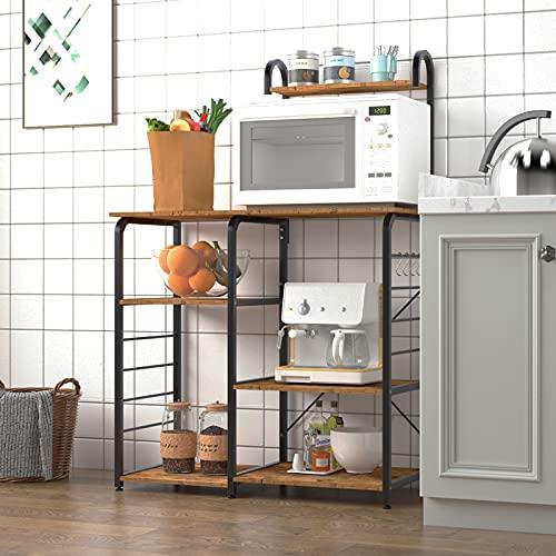 """DlandHome Soporte para carro de microondas 35.4"""", Almacenamiento de utilidad de cocina 3 + 4 niveles para Baker's Rack & Especiero Organizador Plataforma de la estación de trabajo, Color Retro"""