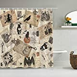 vintage halloween fabric - DPASIi Polyester Fabric Shower Curtain,Modern Vintage Halloween Postcard Collage,with 12 Plastic Hooks Decorative Bath Curtains 72x72 inches