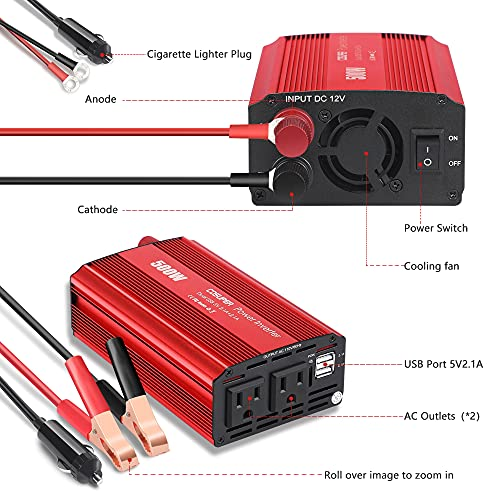 Soyond 500W Power Inverters (2021 News) 12v Dc to Ac Inverter 4.2a Dual USB Car Charge Battery Converter Vehicle Electronics Accessories