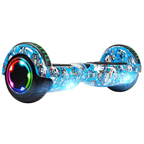UNI-SUN Hoverboard for Kids, 6.5' Two Wheel Self Balancing Hoverboards with Bluetooth and Lights for Adults, Skull Blue Hover Board