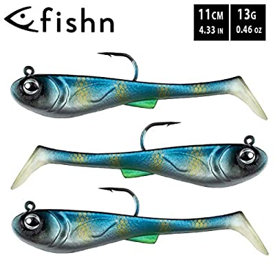 FISHN® GRUMPYbaby Rubberfish Set - Weight: 13g, Length: 11cm - Extreme swimming action, fishing lures for pike fishing, Softbait, Swimbait, high fishing power (3 pieces) (GRUMPYbaby Blue)