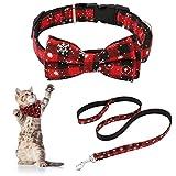 AUXSOUL 3 Piezas de Collar de Perro de Navidad Collar de Lazo Rojo para Mascotas Collar con Pajarita de Cuadros Corbata del Gato Bonita Decoración Navideña para Perros