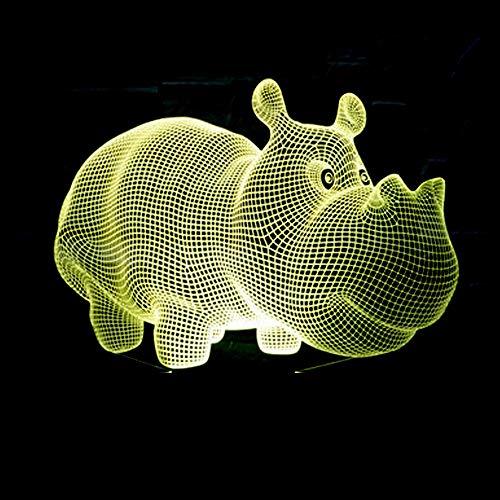 Yaunli-yd LED-nachtlampje, warmwit, LED-lamp, Rhinoceros 3D-led-bureaulamp met USB en verjaardagscadeau met afstandsbediening, werkt op batterijen van schemering tot zonsopgang