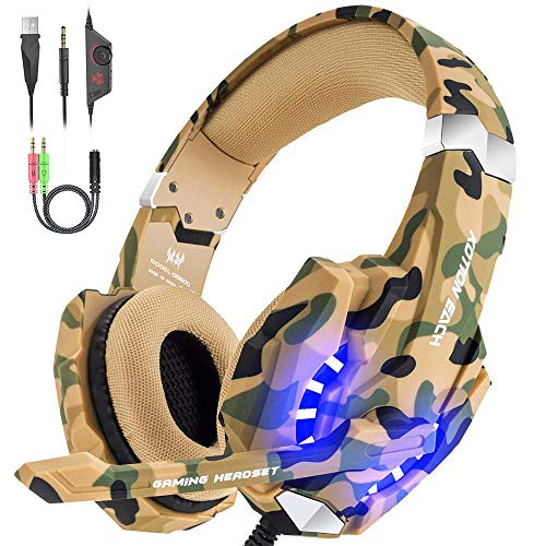 Versiontech Gaming Headset für PS4 Spiele mit Mikrofon für PS4,Professionelle Stereo-Kopfhörer mit 3,5mm Jack, LED-Licht, geräuscharm, kompatibel mit PS4PC Laptop und Smartphone (blau) Camouflage