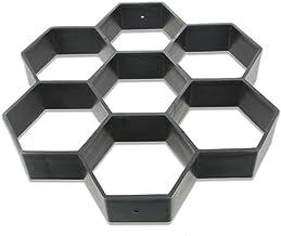 HOMYY Molde para Hacer Caminos. Hexagon - Molde Reutilizable para Cemento de hormigón, Cemento, losas de Cemento, para pavimento, Patio, jardín, Carretera, Suelo