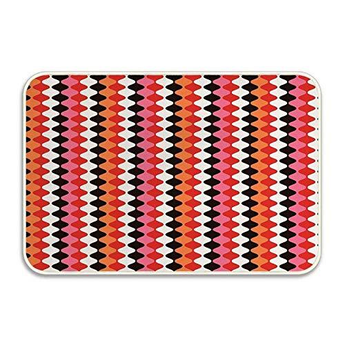 Forma elíptica Curva Formas abstractas en dirección Vertical Colores Vivos ilustración Felpudo Puerta de Entrada de casa de Franela Suave Alfombrilla para Cachorros Alfombrilla