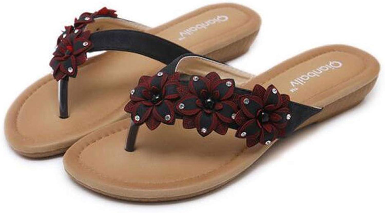 Zarbrina Women Flip Flops Bohemian Style Flower Fashion Crystal Slip-on Summer Wedge Outdoor Beach Slides shoes