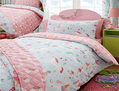 Kidz Club Bettwäsche-Set, Magische-Einhörner-Design, für Kinder-Doppelbett, Bettbezug und Kissenbezüge, Blau