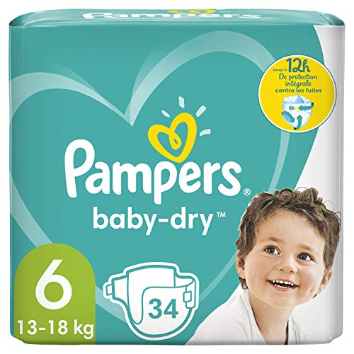 Pampers Baby-Dry-Größe 6, 34 Windeln, bis zu 12 Stunden Schutz, 13-18kg