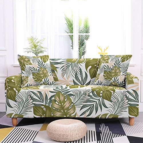 Fundas elásticas para sofá elásticas, universales, con estampado de plantas foliosas, fundas elásticas de poliéster y licra, para sofá de cama individual a cuatro plazas, 1, asiento 90, 140 cm