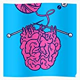 For Zombie Knitting Brainstorm Knit Pink Lover Brain Knitters Home Decor Wall Art Print Poster !
