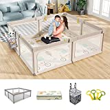 Mloong Baby Playpen with Play mat & Hanging Diaper Caddy, 71x79in Extra Large Playpen for Babies, Infant Playpen Activity Center with Anti-Slip Base for Toddlers, Safety Baby Fence with Gate