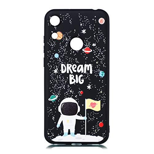 ChoosEU Nero Cover per Huawei Y6 2021 / Honor 8A Silicone Disegni Colorate Custodia Morbido per Ragazze Donne Uomo, Case Antiurto Divertente Gomma Matte Slim Protezione - Astronauta