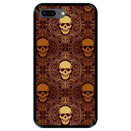 Hapdey Funda Negra para [ iPhone 7 Plus - 8 Plus ] diseño [ Calaveras Doradas, patrón Abstracto ] Carcasa Silicona Flexible TPU