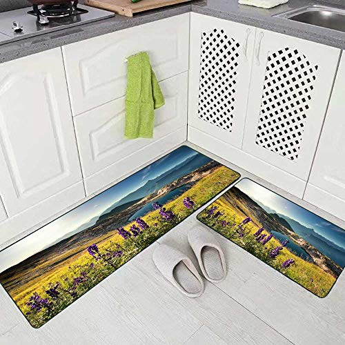 Capsceoll Kitchen Carpets and Rugs for Kitchen,Wildflowers Mountain Near Alpine Lake Alps Germany Kitchen Rugs and Mats Non Skid Washable 17'X48'+17'X24'