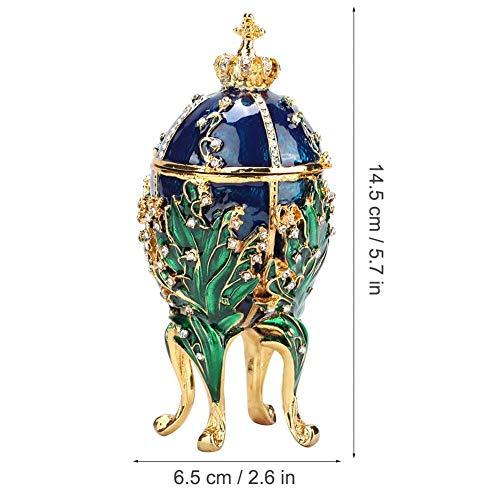 HEEPDD Handbeschilderde geëmailleerde Faberge Ei Geschilderd Koraal Wijnstokken Metalen Sieraden Doos voor Ketting Armband Trinket Thuis Desktop Decor Geschenken