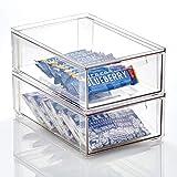 mDesign Caja de plástico transparente – Organizador de armarios apilable y...
