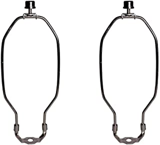 Lamp Harp - 9 Inch Long Nickel Silver Harp for Lamps - Complete Lamp Harp Set Includes Harp, Saddle Base and Finial - Lamp Shade Holder Attachments for Table and Floor Lamps - 2 Pack